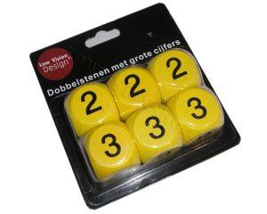 Dobbelstenen met cijfers geel
